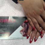 Pure Red with Fine Silver Gel Nails, Lush Nails