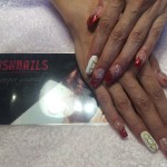 Red Gel Nails with Glitter & Design, Lush Nails
